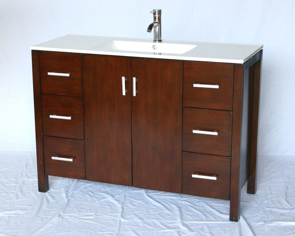 48 Only 18 Inch Deep Shallow Narrow Bathroom Vanity Cherry Color FREE S