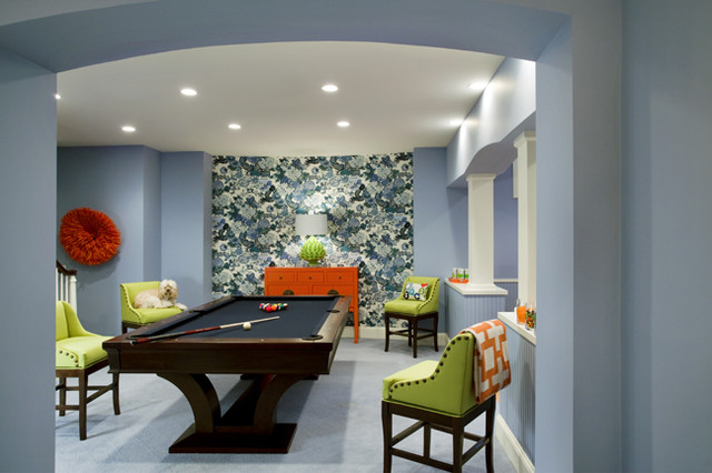 Basement family room rec room contemporary family for Basement rec room designs