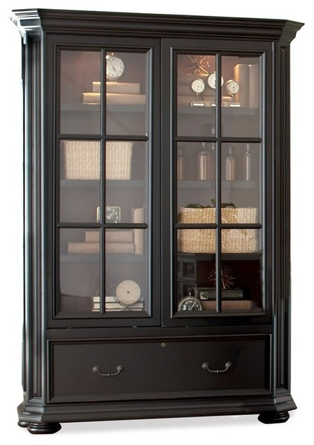 Allegro Sliding Door Bookcase Cabinet - Contemporary ...