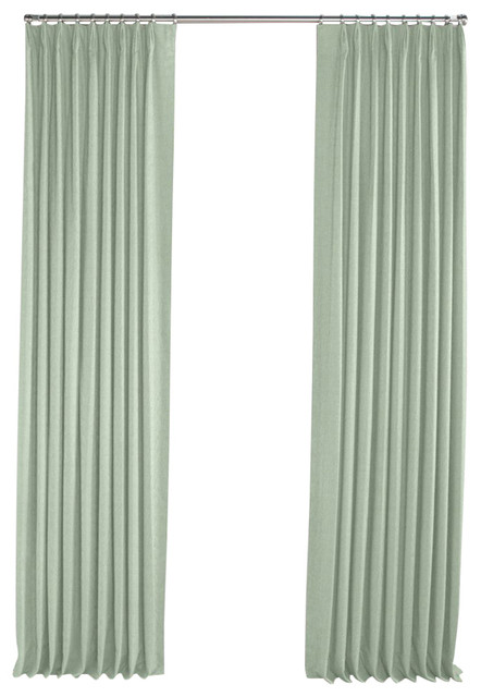 solid seafoam linen pleated curtain single panel