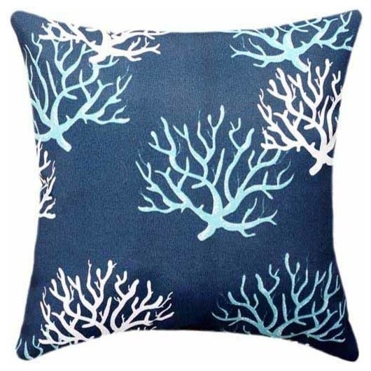 Isadella, Oxford Navy Blue Coral Throw Pillow - Beach Style - Outdoor Cushions And Pillows - by ...