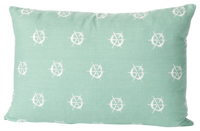 Small Beach Throw Pillows : Montauk Wheels Small Pillow, Aqua/White - Beach Style - Decorative Pillows - by Cricket Radio