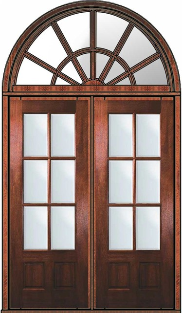 Prehung french transom double door 96 mahogany 3 4 lite 6 for Double entry patio doors