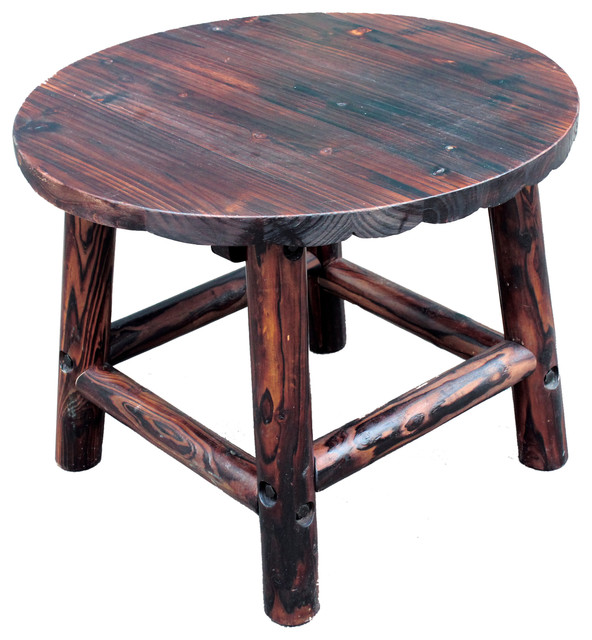 Log Side Table ~ Char log round end table rustic outdoor side tables