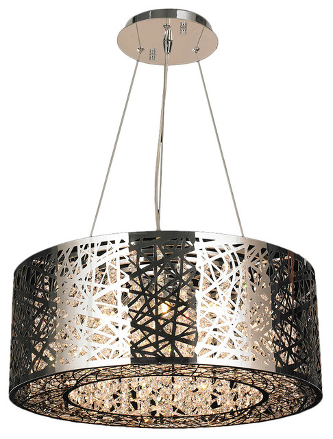 aramis led crystal chandelier chrome contemporary chandeliers by worldwide lighting. Black Bedroom Furniture Sets. Home Design Ideas