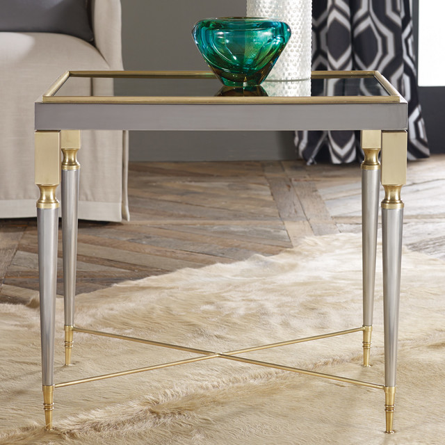 modern history home mirrored x stretcher end table