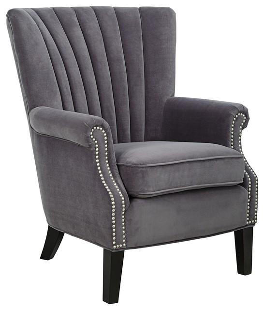 Madeleine bella plum channel back armchair traditional for Traditional armchairs for living room