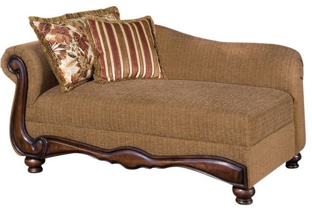 Olysseus chaise in brown floral and pu modern indoor for Brown chaise lounge indoor