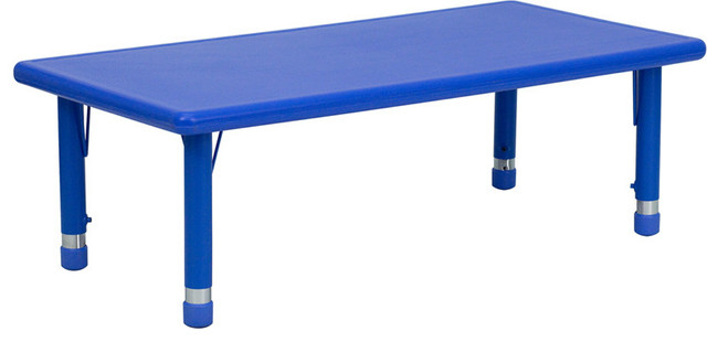 24 Wx48 L Height Adjustable Rectangular Blue Plastic