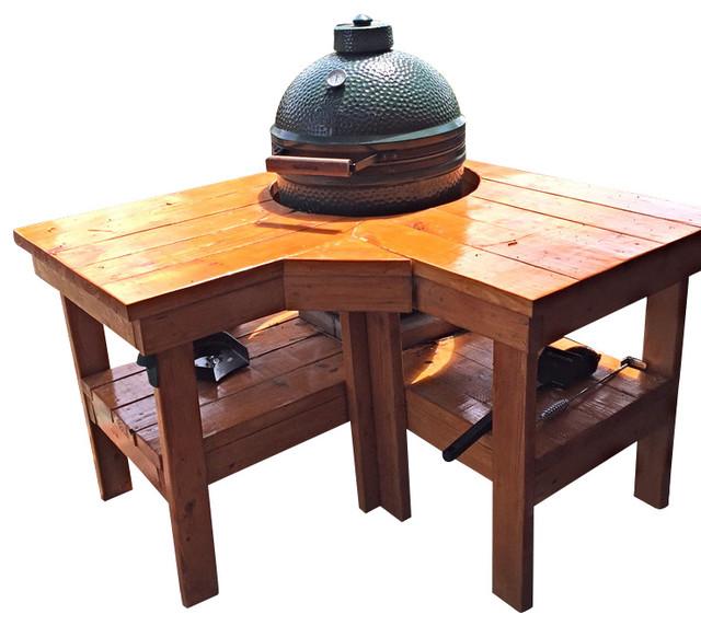 The Big Green Egg Corner Farm Table, Medium Green Egg - Farmhouse - Grill Tools & Accessories ...