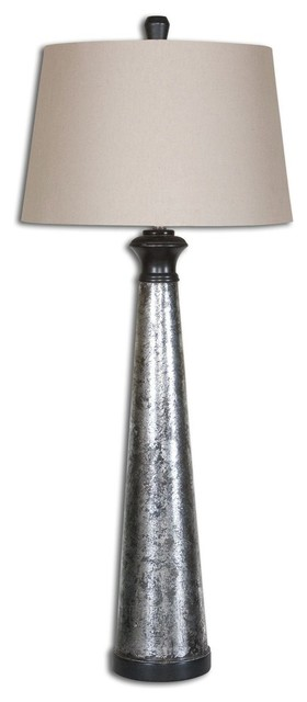 Uttermost mustapha distressed silver traditional table for Distressed silver floor lamp