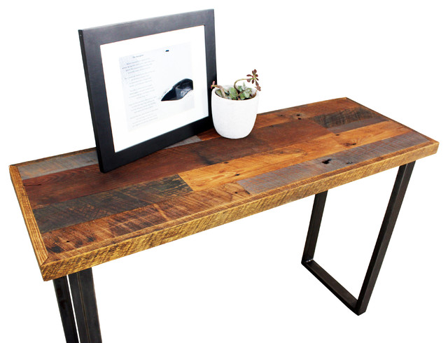 Reclaimed wood patchwork hall table with metal legs Wooden hallway furniture