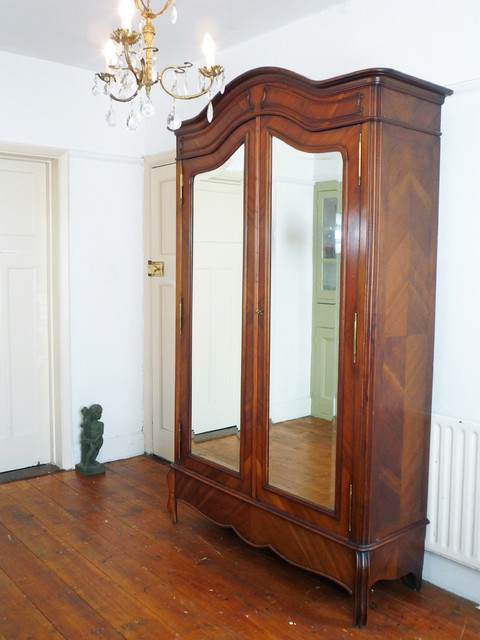 napoleon style double mirror door french armoire. Black Bedroom Furniture Sets. Home Design Ideas