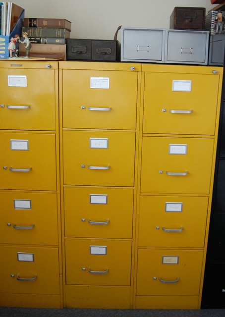 Vintage Bright Yellow Metal Steelcase File Cabinet by msmenimo - Eclectic - Filing Cabinets - by ...