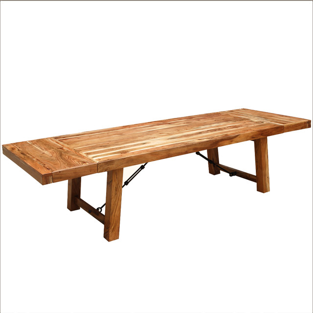 Houzz Dining Table: Rustic Wood Large Extendable Dining Table