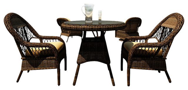 Leona 3 Piece Round Wicker Patio Dining Set Canvas Wheat Cushions Traditional Outdoor