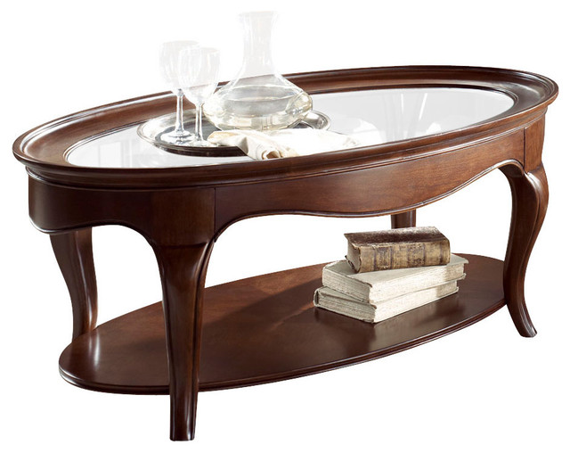 American drew cherry grove ng oval glass cocktail table in for Oval cherry wood coffee table