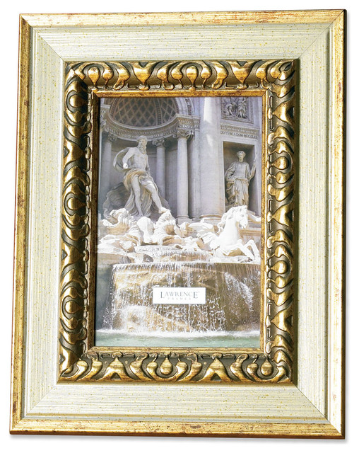 carved antique silver and gold 4x6 picture frame traditional picture frames by lawrence frames. Black Bedroom Furniture Sets. Home Design Ideas