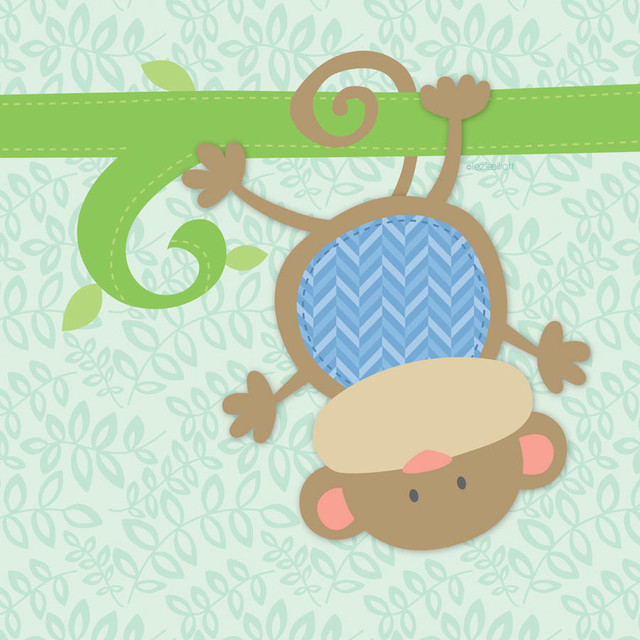 Baby monkey wall mural contemporary wallpaper by for Baby mural wallpaper