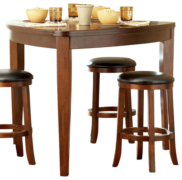 Homelegance ameillia triangle counter height table in dark oak traditional dining tables - Triangle kitchen table set ...