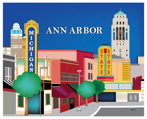 Ann Arbor Michigan Horizontal Skyline Print Modern Home Decor By Loose Petals Llc