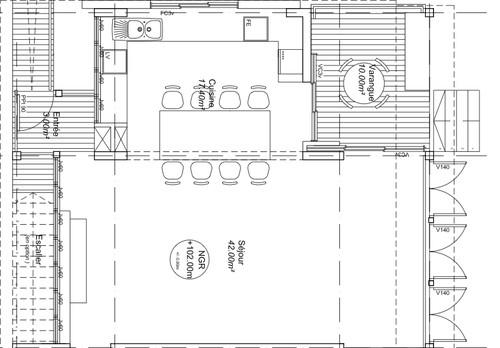 Jonction parquet bambou lames stratifi es entre cuisine for Salon 40m2 plan