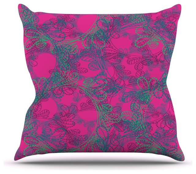 Patternmuse Jaipur Hot Pink Pink Teal Throw Pillow 16