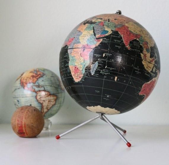 Vintage Retro Black Globe by Bellalulu Vintage - Eclectic ...