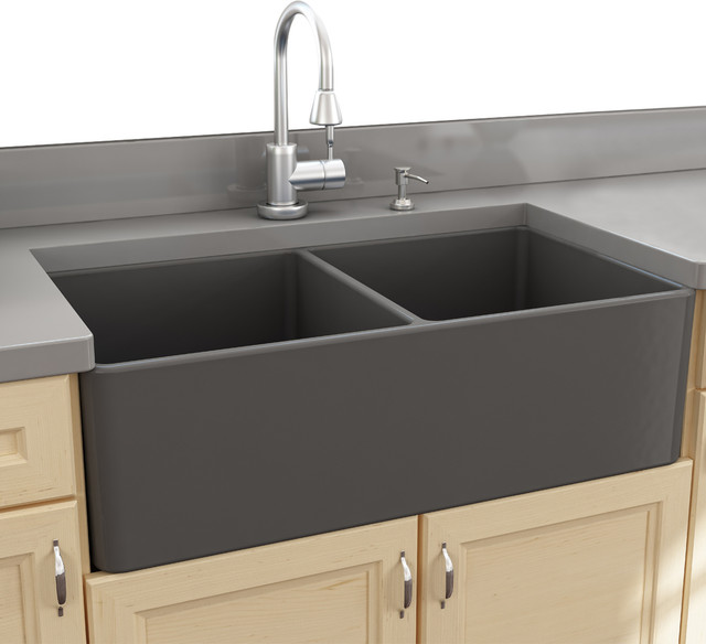 Double Farmhouse Kitchen Sink : ... Sinks 33 Double Bowl Gray Fireclay Farmhouse Sink farmhouse-kit...