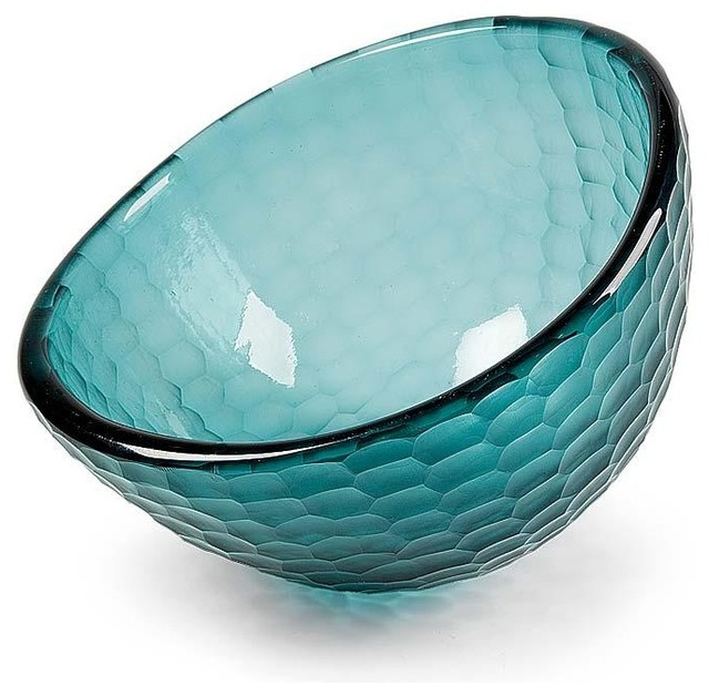 Regina Andrew Dark Teal Deep Glass Bowl - Traditional - Everyday Glasses - by Candelabra