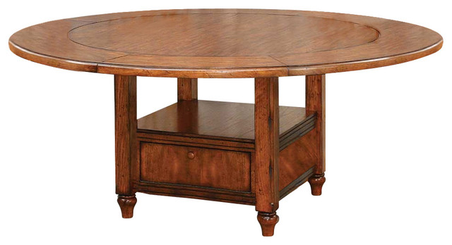 Tuscany Round Storage Dining Table W Expandable Top
