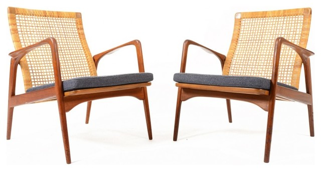 Pair Of Mid Century Modern S A Andersen For Horsnaes Caned Chairs Midcentu