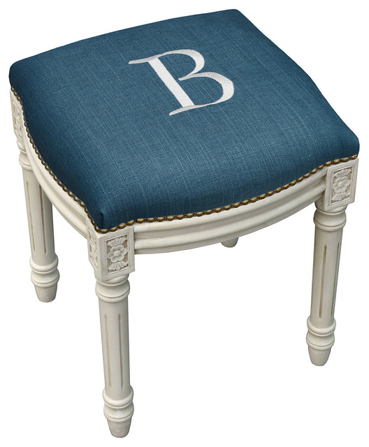 Monogrammed Upholstered Vanity Stool Contemporary Vanity Stools And Benches By One Kings Lane