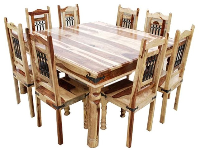 Dallas 9Pc Wood Square Dining Set Rustic Dining Sets By Sierra Living C