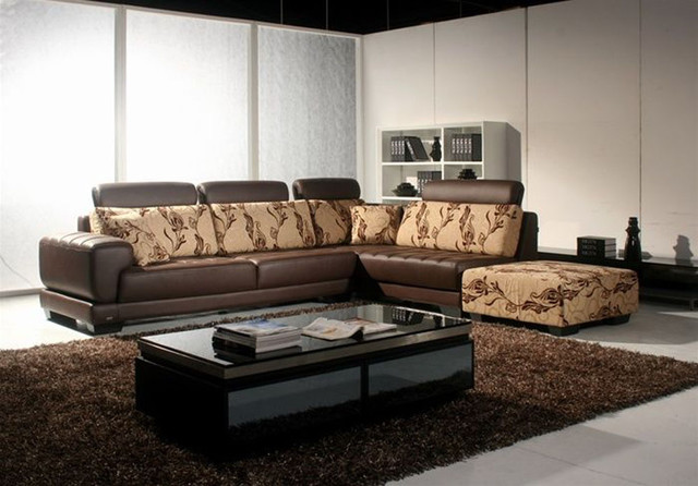 Exclusive Leather Curved Corner Sofa Modern Sectional