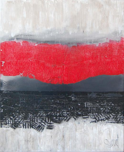 Tableau Abstrait Rouge Orage Contemporain Tableau D
