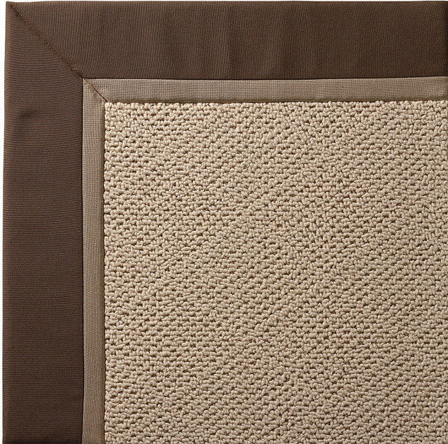 Outdoor Parkdale Rug in Sunbrella Brown White Wicker - 5' x 8' - Traditional - Outdoor Rugs - by ...