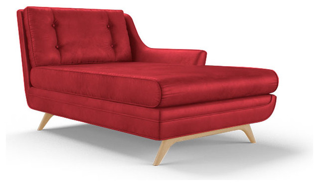 Eastwood Leather Single Arm Chaise Brighton Parrot Red Midcentury Indoo