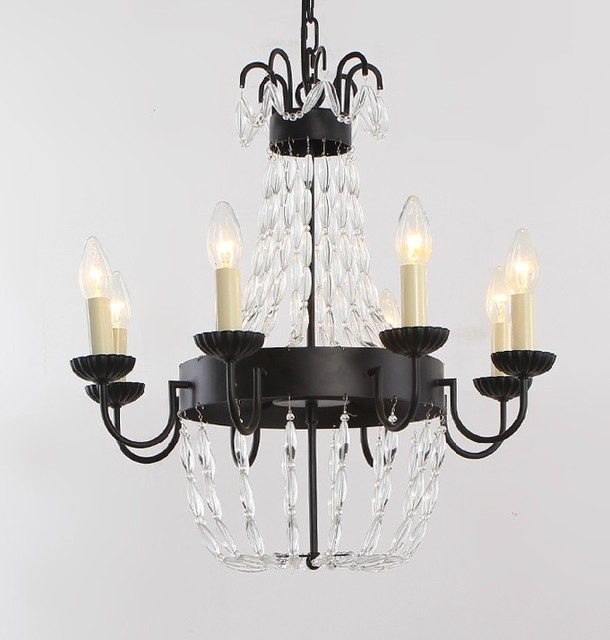 Country Antique Eight Lights Crystal And Iron Chandelier