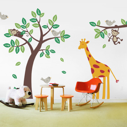tree with monkeys and giraffe wall decal