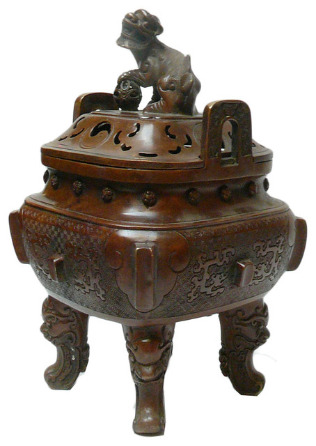 Chinese Metal Handcrafted Square Ding Incense Burner ...