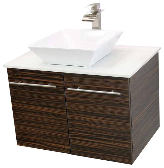 Windbay  Floating Vanity Sink Set Ebony White Quartz Thin Counter