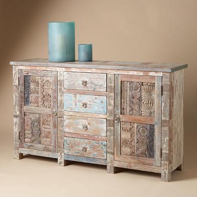 vintage wood block sideboard eklektisch anrichte. Black Bedroom Furniture Sets. Home Design Ideas