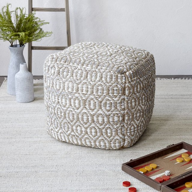Diamond Foil Jute Pouf - Contemporary - Floor Pillows And Poufs - by West Elm