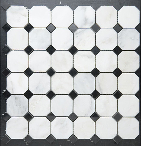 Octagon W Black Diamond Dot Mosaic Tile New York By