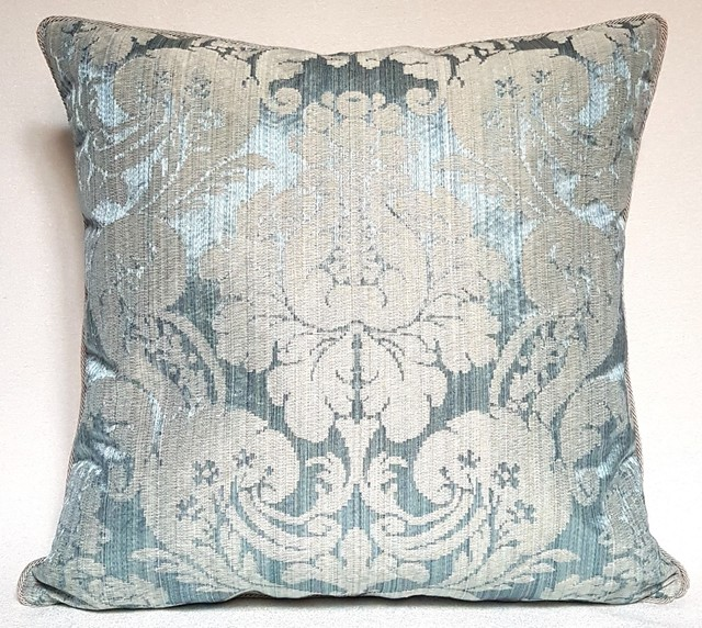 Light Blue Silk Throw Pillow : Rubelli Ruzante Light Blue Silk Damask Fabric Throw Pillow Cushion Cover - Decorative Pillows ...