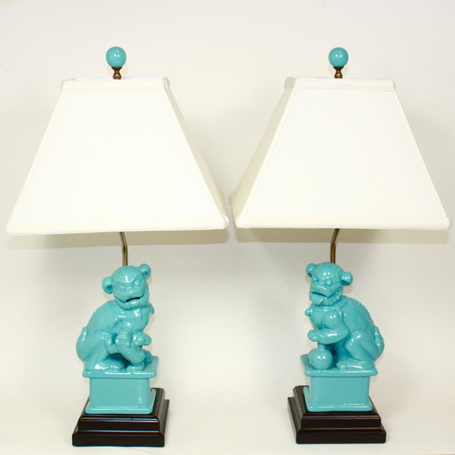 Turquoise Foo Dog Lamps Asian Table Lamps By Furbish