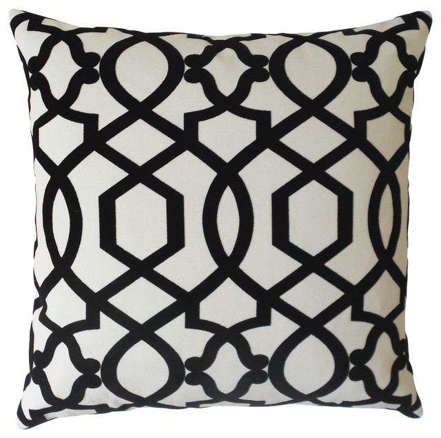 Black and Cream Velvet Trellis Decorative Pillow Cover - Mediterranean - Decorative Pillows - by ...