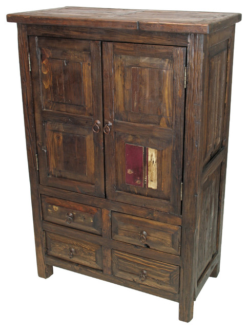Small Rustic Old Wood Armoire 2 Doors 4 Drawers