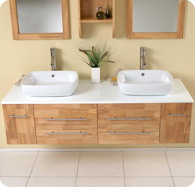 59 bellezza double vessel sink vanity natural wood